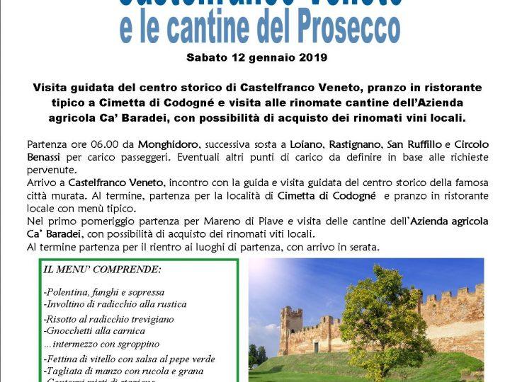 Sabato 12 gennaio – Gita pro Istituto Ramazzini a Castelfranco Veneto e le Cantine del Prosecco